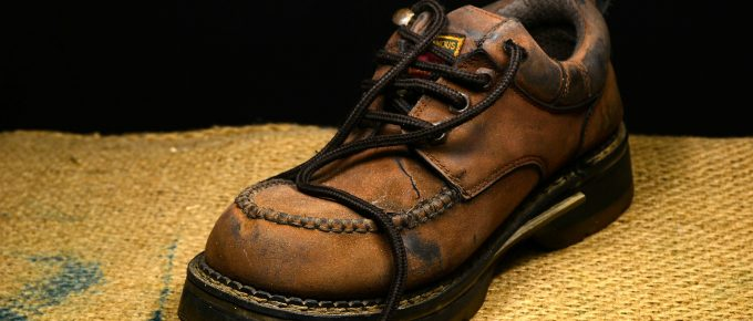 Old brown leather boots