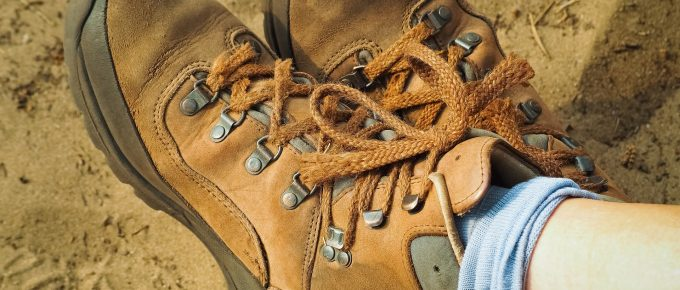Person wearing brown work boots