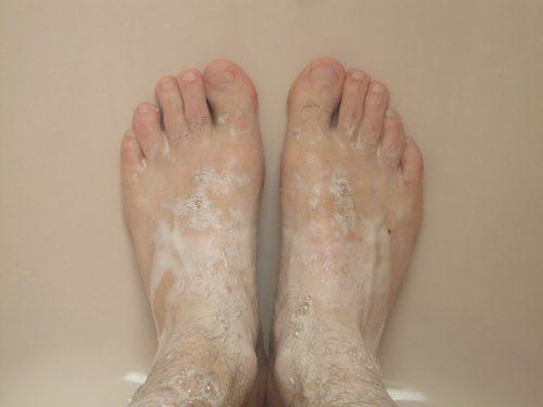 feet with soap
